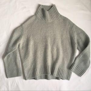 H&M Wool/Alpaca Blend Slouchy Sea-green Sweater Sm